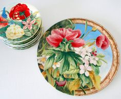 French Country Serving Plates Cake & Dessert Plates Set Volupte by Gien France.