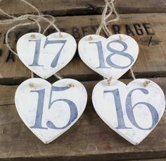 Rustic heart table numbers ivory by Rusticblend on Etsy, $3.00