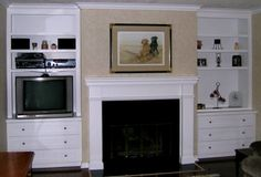cabinets beside fireplace
