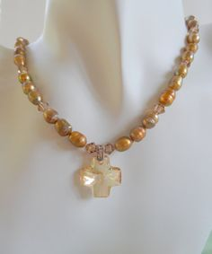 Topaz Swarovski Crystal Cross with Bronze by ShadowoftheCross, $45.00