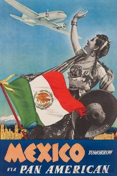 Mexico 1940 Tomorrow Via Pan American Airlines Vintage Poster Art Print Vintage Travel Posters, Vintage Airline, Vintage Ads, Airline Travel, Air Travel, Mexican Art, Popular Art, Retro, Aeroplanes