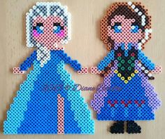 Elsa and Anna - Frozen hama perler beads by Diane