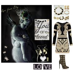 Fashion Collection by #vualia on #Polyvore #BlackDress #Givenchy #vintagejewelry #gold #black #goldandblack #fashion #jewelry #styleblogger #fashionblogger #angels #love #giftsforher #inspiration #glamoure #trending