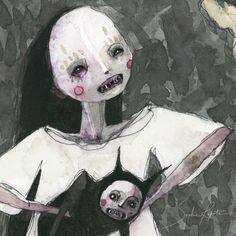 My Little Cat (print of an original painting by Sophia Rapata) Arte Grunge, Grunge Art, Arte Horror, Horror Art, Art Goth, Arte Lowbrow, Arte Indie, Art Ancien, Creepy Art