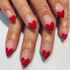Red Heart Shape Nail Art / heart nails / valentine's day nails / heart nail art / nail art farbverlauf 12 Super Cute DIY Nail Designs To Try on Valentine's Day Acrylic Nails, Gel Nails, Red Tip Nails, Coffin Nails, Kylie Nails, Nail Polish, Stiletto Nails, Heart Tip Nails, Heart Nail Art