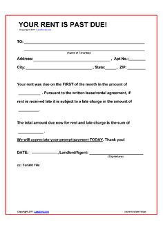 Printable Sample Late Rent Notice Form  Printable Lease Forms