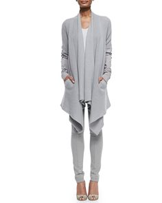 Donna Karan Cashmere Cozy w/ Leather Sleeves, Cap-Sleeve Tunic w/ Ruched Sides & Pull-On Seamed Leggings 2015