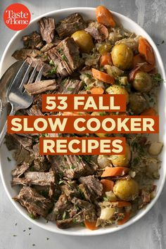 53 Fall Slow Cooker Recipes You'll Want to Make Now - Favorite Fall Recipes - Crockpot Recipes Fall Crockpot Recipes, Fall Dinner Recipes, Slow Cooker Recipes, Cooking Recipes, Healthy Recipes, Winter Recipes, Pasta Recipes, Sweet Recipes, Slow Cooking