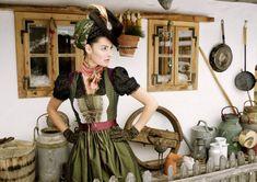 Woman wearing a beautiful dirndl by the Austrian brand Sportalm  #austria #fashion #dirndl #sportalm #traditional #clothing