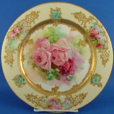 Limoges France Hand Painted Rose Gilt Plate