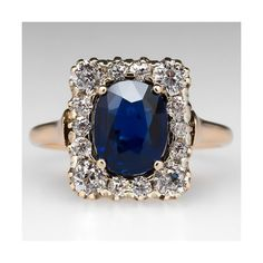 Victorian Sapphire Ring w/ Old Mine Cut Diamond Halo 18K Gold ❤ liked on Polyvore featuring jewelry, rings, engagement rings, antique gold ring, yellow gold sapphire ring, gold rings and gold engagement rings