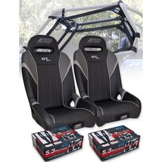 PRP Seats E40 E41 Carbon Fiber Rear Door Bag with Knee Pad Set of 2 Red