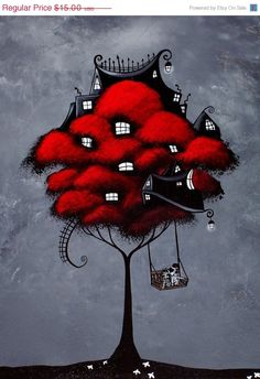 72hr SALE 50% OFF - Tree House Fantasy Art Print - For the rest of our days by Jaime Best. $7.50, via Etsy.