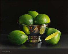 Still life with Limes in a Silver Bowl and Cut Lime