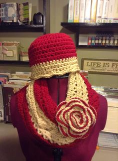 Free Infinity scarf pattern and Miss Downtown Abby Hat.
