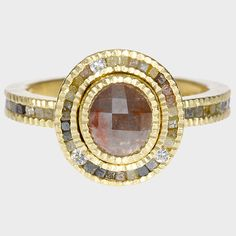 trdr405-30 | 18ky gold, red fancy cut diamond (1.07ctw), white brilliant cut diamonds (.0865ctw), raw diamond cubes(.72ctw)Come to me, my pretty.