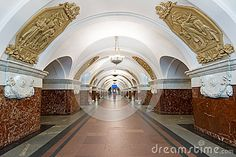 Станция метро Krasnopresnenskaya в Москве, России