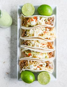 Pulled Pork Tacos with Sweet Chili Slaw /