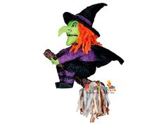 Witch Pinata Description: Get her off her broom and get the treats. The Witch Pinata is a fun activity for your Halloween party! Halloween Party Supplies, Fete Halloween, Halloween Games, Halloween Kids, Halloween Decorations, Halloween Costumes, Pinata Halloween, Halloween Horror, Halloween Sweets