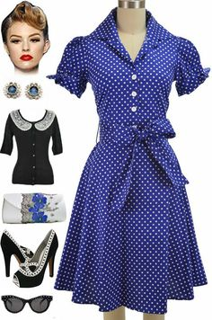 Brand new at Le Bomb Shop!! PLUS SIZES & Regular sizes! Blue & White Polka Dot, Tie Sleeve, Lucy, Pinup Day Dress! Find it here at Le Bomb Shop: http://lebombshop.net/search?type=product&q=%22tie+sleeve+lucy+day+dress%22&search-button.x=0&search-button.y=0