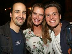 Jonathan Groff, in his MDG hoodie, with Lin-Manuel Miranda and Brooke Shields Hamilton backstage 25 Sept 2015