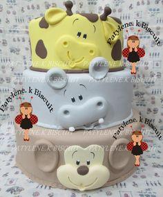 Safari Birthday Cakes, Jungle Theme Cakes, Jungle Theme Birthday, Safari Cakes, Baby Cakes, Cupcake Cakes, Bolo Fake Safari, Fondant Animals, Fake Cake