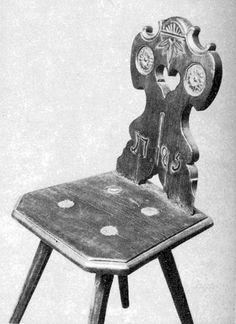 Szék támlája két faragott rozettával díszítve (Hövej, Győr-Sopron m., 1795) Bp. Néprajzi Múzeum Made Of Wood, Woodworking Ideas, Stools, Folk Art, Chairs, Gardens, Traditional, Projects, Inspiration