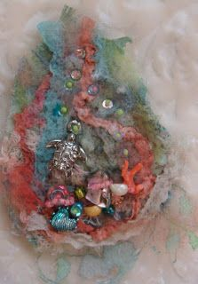 Felted and embellished sea brooch Pat Winter Gatherings