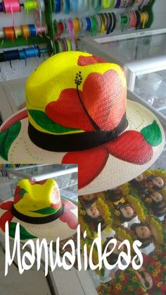 Sombrero pintado a mano Painted Hats, Hand Painted, Hat Decoration, Fancy Hats, Cloth Bags, Fabric Painting, Hobbies And Crafts, Caps Hats, Craft Projects