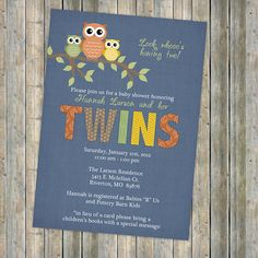 Twins owl baby shower invitations  twin by freshlysqueezedcards, $13.00