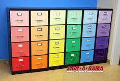 Custom wrapped filing cabinets.