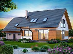 Zdjęcie projektu Marsala z wykuszem Facade House, Marsala, Home Fashion, House Plans, Garage Doors, Shed, Exterior, Outdoor Structures, Cabin