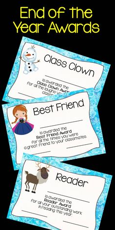 21 of the most ADORABLE FROZEN INSPIRED awards are just waiting for you to print and hand out at the end of the school year. $