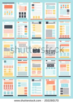 Vector Collection Flat Website Templates On Stock Vector (Royalty Free) 202280170 Page Layout Design, Web Design, Magazine Layout Design, Website Design Layout, Graphic Design Layouts, Book Layout, Simple Powerpoint Templates, Presentation Layout, Grid Layouts