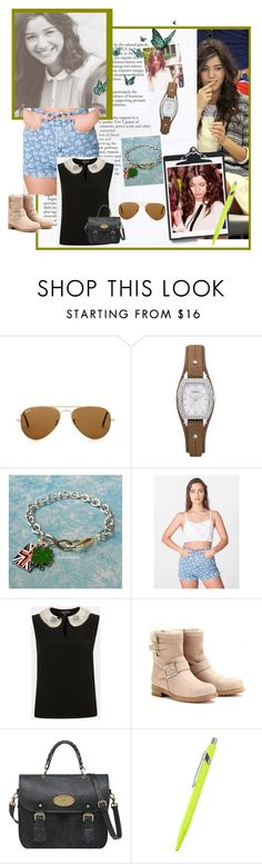 """Eleanor Calder Inspired"" by ayapritabelia ❤ liked on Polyvore featuring Ray-Ban, FOSSIL, American Apparel, Topshop, Jimmy Choo, Mulberry, Caran D'Ache, union jack, rayban and topshop"