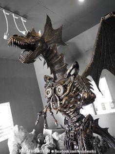 Towering metal dragon