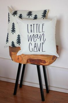 Little Man Cave Hand drawn Nursery Pillow Mountain Arrow