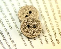 Antiqued Coconut Buttons with Celtic Carving Pattern, 0.59 inch, 10 pcs on Etsy, $5.00