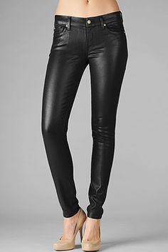 7 For All Mankind High Shine Gummy Skinny Jean in Black