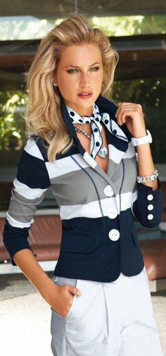 Love the bold striped blazer and white pants. Would like this blazer with navy skirt.NO POLKA DOT SCARF. Look Fashion, Fashion Outfits, Womens Fashion, Fashion Trends, Dress Fashion, Bridal Fashion, Fashion Clothes, Fashion Beauty, Fashion Accessories