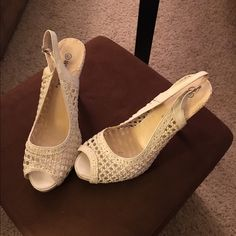 White Lace Peep Toe Heels Wild Diva Sz 8.5 Great for summer!  White Lace Peep Toe Heels Wild Diva Sz 8.5. Used but in very nice condition. Wild Diva Shoes Heels