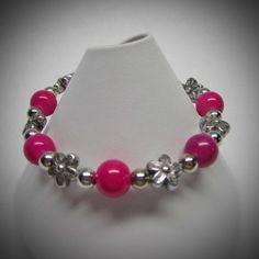 Pink and Silver Flower Stretch Bracelet by LadyBirdJewelry on Etsy, $16.00
