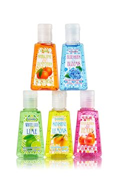 Sunshine Is Delicious Bath & Body Works 5-Pack PocketBac Sanitizers | Includes Sunshine & Lemons, Blue Skies & Blooms, White Lily & Lime, Pink Peonies & Pears, Springtime & Clementines