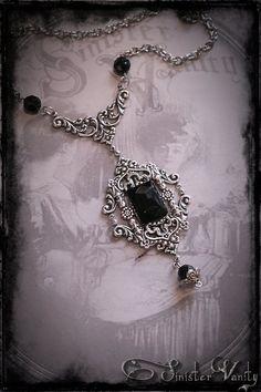 Gothic Victorian Romantic Silver Black Onyx Filigree Elegant Ornate Beaded Goth Jewelry Necklace Gothic Steampunk, Victorian Gothic, Goth Jewelry, Gothic Accessories, Victorian Jewelry, Vintage Jewelry, Gothic Outfits, Dark Fashion, Jewelry Crafts