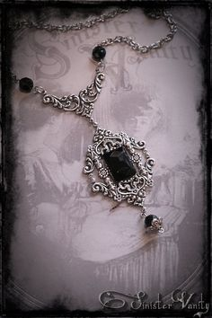 Gothic Victorian Romantic Silver Black Onyx Filigree Elegant Ornate Beaded Goth Jewelry Necklace