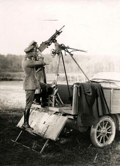 WWI, 1915; French anti-aircraft gun captured by the Germans, France.