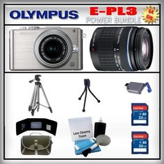 Olympus PEN E-PL3 Silver 12MP Digital Camera - Olympus 14-42mm Lens - Olympus 40-150mm Lens - 2x 32GB SDHC Memory Card - USB Memory Card Reader - Memory Card Wallet - Carrying Case - Lens Cleaning Kit - Full Size and Mini Tripods by Olympus. $739.99. Save 21% Off!