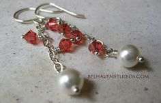 Padparadscha orange red crystals and white by BelhavenStudios