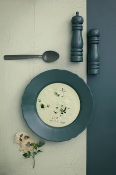 Cold cucumber soup with parmesan crisps. Love this one, grew up w/these ing., very healthy.