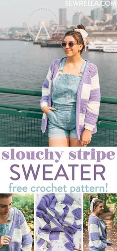 134 best crochet jackets cardigans tops images on pinterest crochet slouchy stripe sweater fandeluxe Image collections